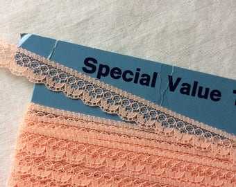"New Peach Lace Trim 9/16"" wide x 8-1/4 yards long by Special Value Trims"