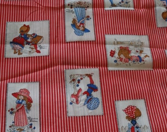 "Holly Hobbie fabric, 33"" x 44"" vintage sweet girl scenes, best friends, sisters, American Greetings,"