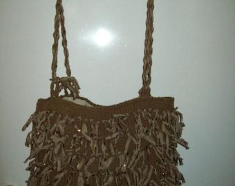 bronze purse knit with fringe