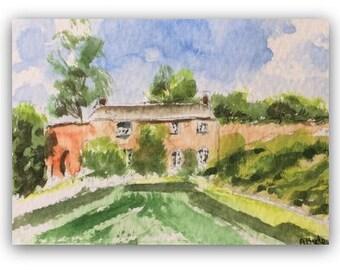 Landscape ORIGINAL Miniature Watercolour 'Cottage Garden' ACEO English Countryside Home Decor Gift Idea Wall Art, Free postage worldwide