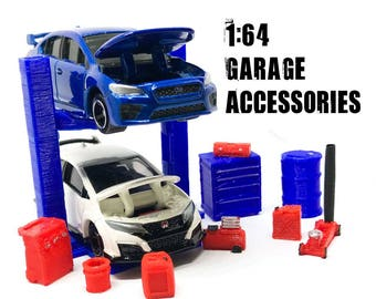 1:64 Model Car Accessories Set with 2 post auto lift