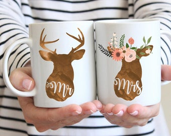 Mr and Mrs deer mugs, personalizec couple mugs, couple coffee cups, boho deer mugs, wedding gift, couple gift
