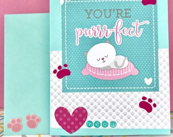 Valentine's Day Card • Cat Card • For Someone Special  • Love Cards • Kitty Card • You are Perfect  • Cat Lover Card • Cute Cards
