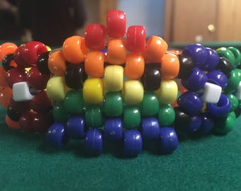 Rainbow Pac Man ghost kandi cuff