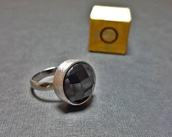 Black Rings for Women, Black Promise Ring, Black Stone Engagement Ring, Black Stone Silver Ring,  Black Gemstone Ring, Obsidian Rings