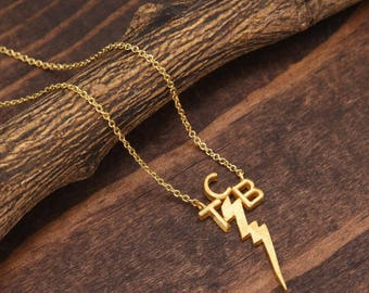 Gold Taking Care of Business Necklace, Lightning Bolt Necklace, Minimalist Necklace, Statement Necklace, TCB Necklace BN875-G3