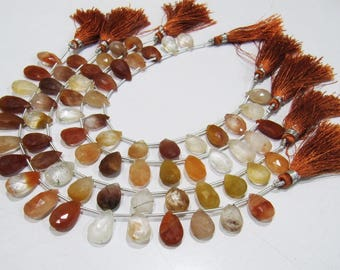 Natural Genuine Copper Rutilated Quartz Pear Shape Beads,10x13 to 11x16mm Briolette Beads,Strand 8 Inches Long,Red Rutile Heart Shape Beads