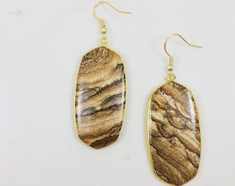 Brown picture jasper drop earrings // Free shipping