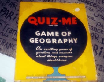Quite vintage (c.1938) Quiz-Me The Game of Geography published by Milton Bradley.  Made in the USA. Game No. 4930