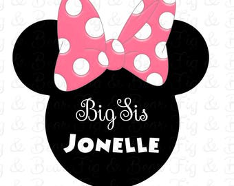 Disney Sisters Shirts Minnie Mouse Pink Bow Big Sis Lil Sis Personalized  T Shirt Iron On Transfer
