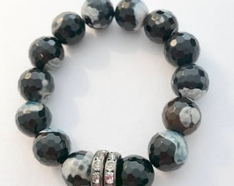 Agate Bracelet with Swarovski Crystal Detail