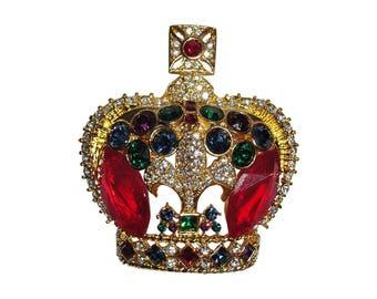 Butler and Wilson Rhinestone Crown Pin