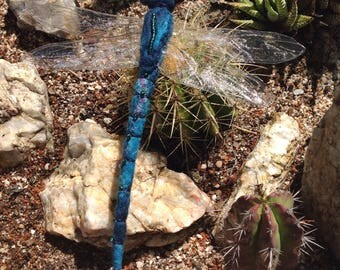 Dragonfly dreams: Blue felted dragonfly.