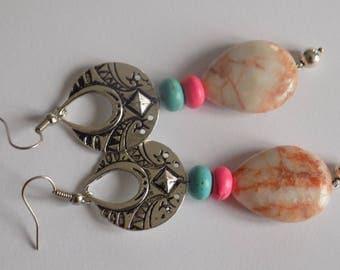 Ethnic earring Pearl semi precious Jasper natural Crystal healing