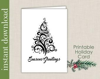 Printable Card, Christmas Card, Christmas Printable, Seasons Greetings, Holiday card, Christmas download, card download,black Christmas card