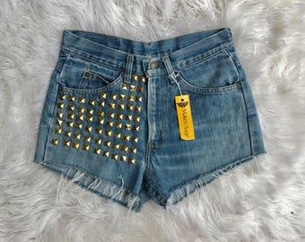 "Vintage Levi Denim Shorts, High Waist, Festival Shorts, Size 29"""