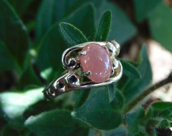 Stunning Colorado Rhodochrosite In a love sterling silver custom elegant statement ring band bringing to life the pasionate pinks