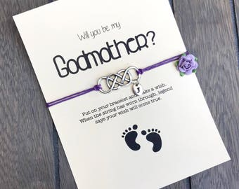Ask godmother, Madrina, Will you be my godmother, Godmother bracelet, Ask godmother, Wish bracelet, godmother gift, Godmother proposal ZA4