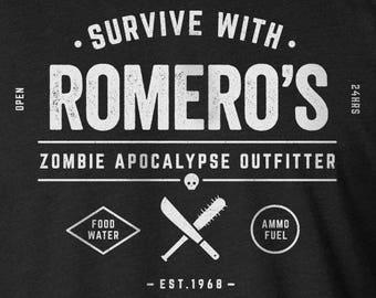 Zombie Shirt, Zombie Apocalypse Shirt, Romero's Zombie Outfitter Shirt, Zombie Survival Kit, Zombies, Funny Zombie Shirt, George Romero