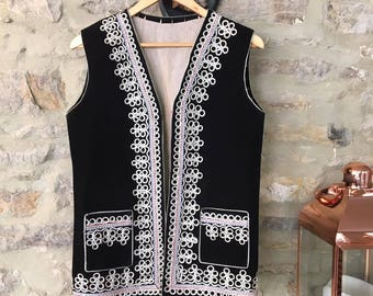 Gold Dust Woman' Vintage Black Velvet Afghan Waistcoat with Gold Embroidery UK Size 10