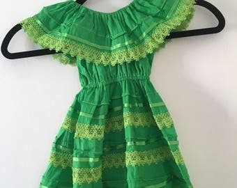 Campesino mexican lemon green dress