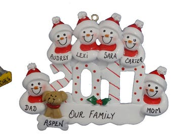 2017 Snow Family of 6 Personalized Ornament with Dog-2017 Family of 6 Personalized Ornament with Cat- 2017 Family of 6 with Dog or Cat Added