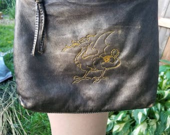 Dragon Faux Leather Cross Body Recycled Purse