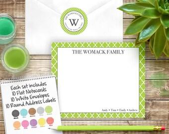 Quatrefoil Notecard and Address Label Set - Stationery and Address Label Gift Set - Quatrefoil Stationery and Labels - Set #003