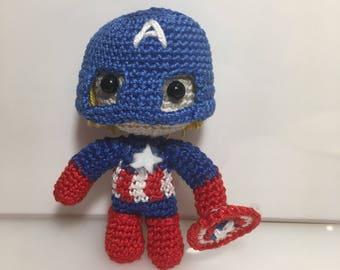 Amigurumi Captain America, amigurumi puppets, anigurumi superheroes, decorations party and birthdays, children's gift idea for him and her
