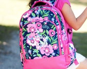 GIRLS Monogrammed Backpack, Monogrammed Lunch Box, Monogrammed Pencil Case, Backpack and Lunch Box Set,Back to School Set,Backpack,Lunch Box