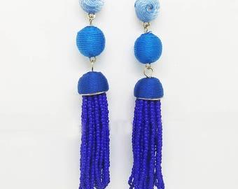 Silk and Seed Bead Tassel Earrings