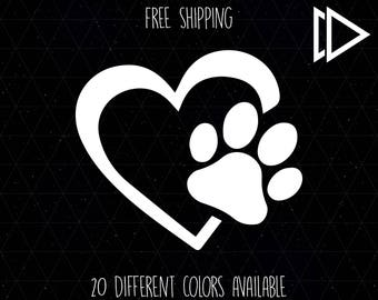 Heart Dog Paw Print Decal