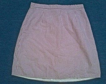 Vintage 80s BETSEY JOHNSON Purple & White Checkered Cotton Mini Skirt Size Petite (xxs)