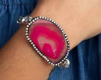 Bling Pink Agate Beaded Bracelet