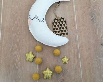 Baby gift, Baby mobile, moon mobile, babyroom mobile, girlsroom, filt mobile, dreamcatcher, wall decoration, unique gift, baby shower gift
