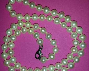 Vintage Knotted Pearl and Sterling Necklace 17.75 inches