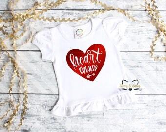 Girls Valentine Shirt, Girls Valentine Outfit, Valentine Heart Breaker, Toddler Baby Valentine, 1st Valentine's Day, First Valentine's Day