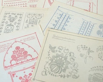 Vintage embroidery pattern crewel Swedish.Pattern embroidery.Traditional folk art.Collage pages.Wall art.Swedish color sewing.Sweden art.D