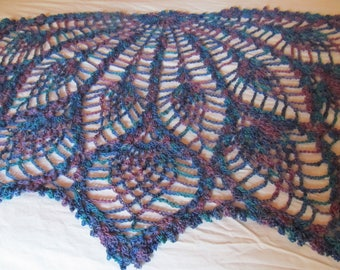 Hand Crocheted Shawl, 28 inches long by 55 inches wide