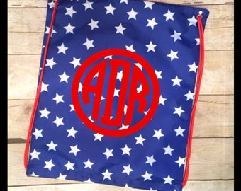 Patriotic Stars Personalized Cinch Sack!  Monogram Drawstring Bag, Beach Sack, Overnight Bag.  Great gift for kids!
