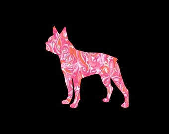 Boston Terrier preppy print patterned vinyl decal in many prints and sizes!