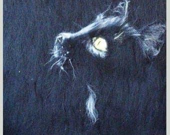 """Wool painting """"Black cat"""" (sketch)"""
