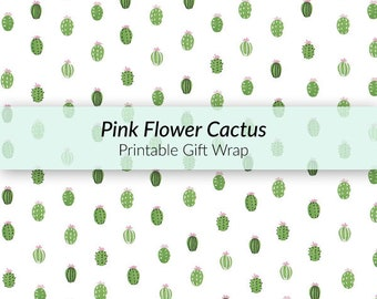 Printable Pink Flower Cactus Gift Wrap - blooming cactus gift wrap, spring theme gift wrap, egg cactus pattern, A4 hand-drawn gift wrap