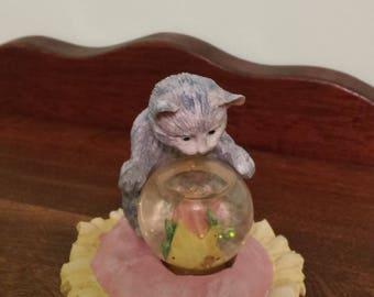 Enesco Vintage Figurine- Cat and Fish Bowl