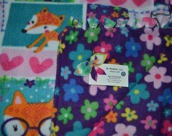 """Foxy Flower Power - Fleece Bo Blanket - 55"""" x 48"""""""
