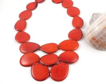 Tagua nut jewelry, tagua necklace, statement orange necklace, bib necklace, modern necklace, chunky necklace, eco friendly jewelry, vegan