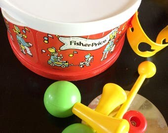 Vintage Fischer Price Drum Set, Plastic Band Set, Retro Toy, Play Instruments