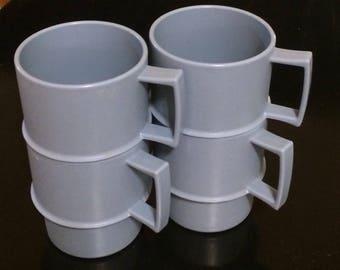 Vintage Blue Tupperware Mugs, Set of Four Nesting Cups