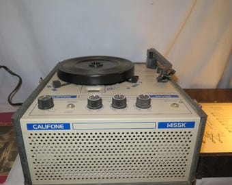 Vintage Califone 1455K Portable Record Player Turntable with Speaker