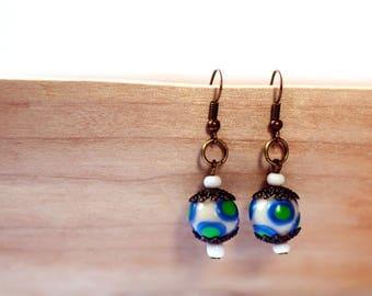 Polymer clay earrings Women's Christmas jewelry Blue earrings for women and girls Blue beads earrings Dangle drop earrings Blue Green White